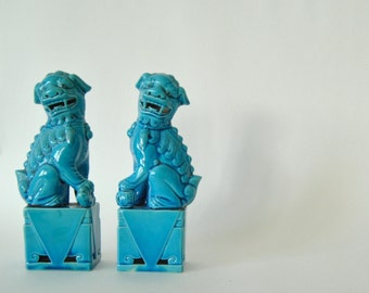 VINTAGE pair of Chinese turquoise blue ceramic figurine FOO DOGS