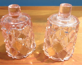 Set of Pale Pink Diamond Candle Sconces/Pink Candle Holders/Pink Christmas Candles/ Pink Diamond Antique Candle Holders