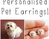 PET EARRINGS - Personalised Personalized Dog Cat Stud Sterling Silver