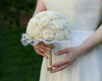 Cream Wedding Bouquet, Ivory Bridal Bouquet, Lace, Sola Flowers, Pearl, Flower Bouquet, Wedding Flowers, Bridal Flowers, Bouquets