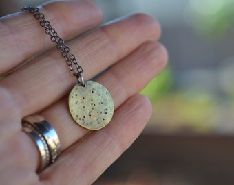 Full Moon Necklace. Textured brass Moon Pendant. Celestial pendant. Simple. Luna. Lunar.