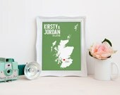 Scotland OR ANY MAP Wedding Gift - Personalized Print - Custom Destination - Date - City and Country Modern Art Print
