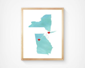 Any two Two States Art print Love - Watercolor Wedding Gift  - Personalized State Heart Natural Series - Custom Location Modern Art Print