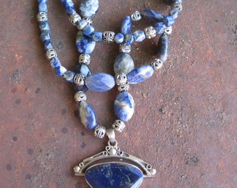 Lapis Lazuli and  Sterling Pendant on Lapis Beaded Necklace