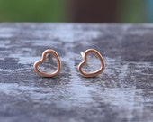 Dainty Heart Post Earrings / Rose Gold Heart Earrings / Heart Studs / Perfect Valentine's Day Gift