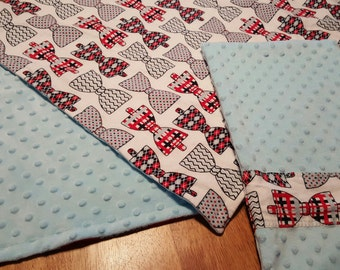 Bow Tie Print Minky Blanket & Burp Cloth Set ~ Baby Boys ~ READY TO SHIP ~ Baby Shower Gift ~ Gifts for Baby Boys