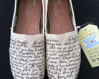 Jane Austen's Pride and Prejudice Custom Made Shoes featuring quotes from Mr. Darcy to Elizabeth!!