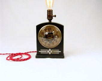 Lighting -Table Lamp - Upcycled Deconstructed Vintage Clock