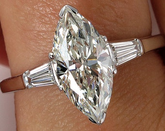 Reserved...1930..Vintage Estate GIA 1.87ct Classic Marquise Cut Diamond Engagement Platinum Ring