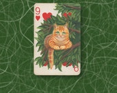 Cheshire Cat ACEO. Painted altered vintage playing card, the 9 of Hearts. Maybe an unusual 9th Birthday or 9th Anniversary card?