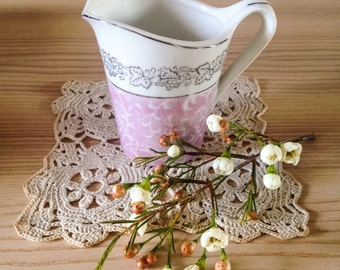 Vintage Pink and White Milk or Cream Jug