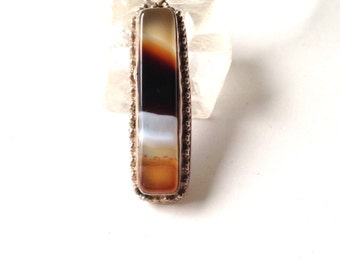 Botswana Agate Pendant Necklace in Sterling Silver on leather cord