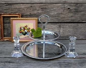 Silver Tray and Candlesticks - Party Decorations - Serving Tray - Crystal Candlesticks - Baby Shower - Bridal Shower - Wedding - Hostess