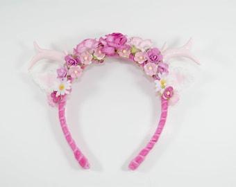 Pink Antler Headband - deer headband - Lolita Headband - Fairy Kei - Flower Headbands - Crochet - Fairy kei - Lolita - Kawaii