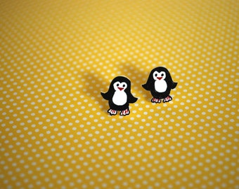 Penguin Studs -- Penguin Earrings, Little Penguin Studs