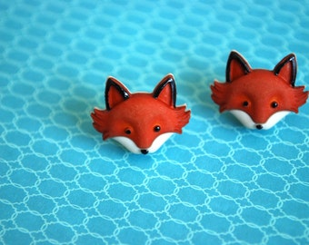 Fox Earrings -- Fox Studs, Orange Fox, Silver