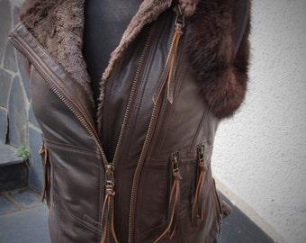 Leather Steampunk vest leather biker vest Brown distressed leather tribal biker jacket recycled mink fur waistcoat  SELKIE