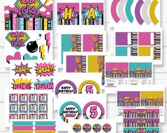 "Personalized Diy ""Supergirl"" Superhero Girls Personalized Birthday Digital Printable Party Package"