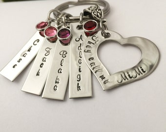Personalized Hand Stamped They Call Me Grandma or Grandpa (or Nana or Papa etc) keepsake Key Chain with Grandchildrens names and birthstones
