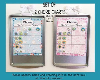 Set of 2 Chore Charts Theme/Artwork Upcycled + 24 magnets/choose your design/DISCOUNT