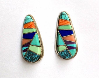 Native American Inlay Mosaic Sterling Silver Earrings, Turquoise, Lapis, Spiny Oyster,, Gasparite Handmade Inlay Earrings