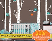Birch Tree Wall Decal | Best Seller - 5 Birch Trees and Owls | Woodland Baby Nursery, Children's Room Interior Design | Easy Application 006