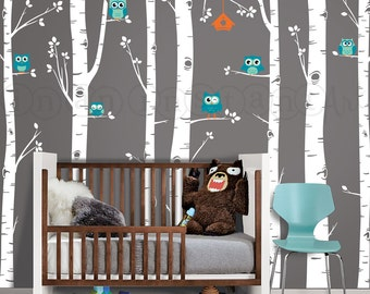 Birch Tree Wall Decal with Owls and Birdhouse, Birch Trees and Owls Nursery Decal Set, Nursery Tree Decal 132