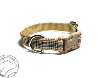 "Blackberry Plaid Tartan Dog Collar - 3/4"" (19mm) wide - Martingale or Quick Release - Tan Plaid - Choice of collar style and size"