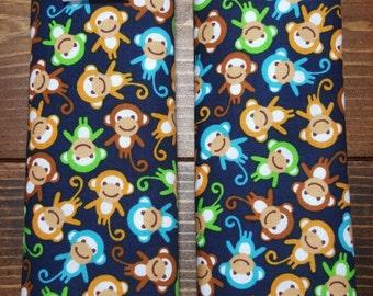 Reversible TODDLER Car Seat Strap Covers Ann Kelle Mini Bermuda Monkeys Navy with Kelly Green Dimple Minky Cuddle Baby Boy ITEM #031