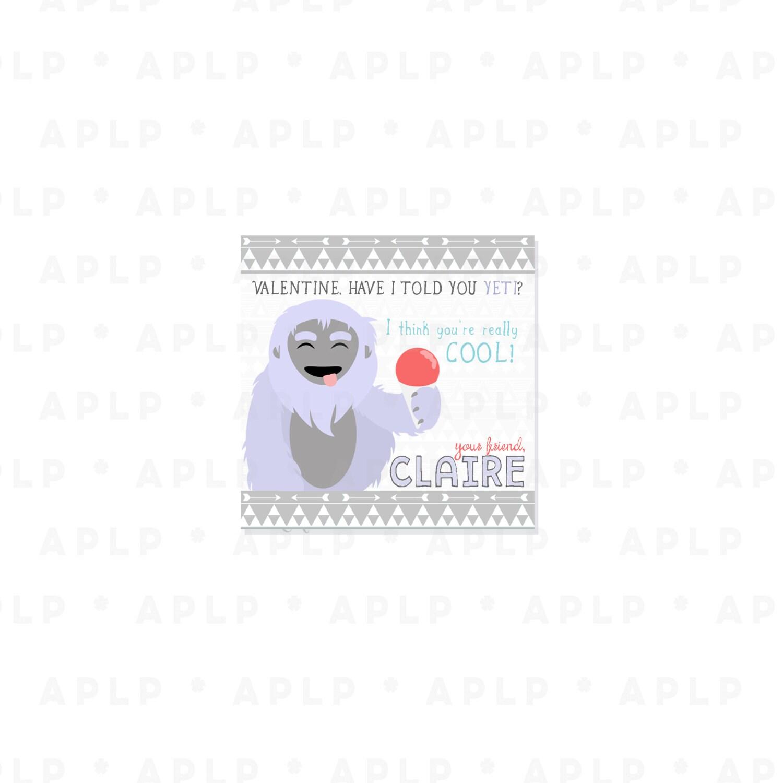 Yeti Chic Valentines - Cool Yeti Big Foot Valentine - Party Supplies