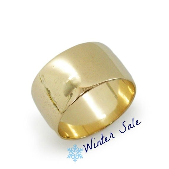 wide gold wedding ring wide rounded wedding by kaijewelry585