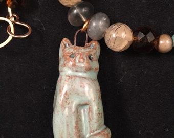 Ceramic cat necklace, fluorite necklace, cat lover gift, cat pendant necklace, crazy cat lady, pet necklace, rescue mom gift, mom, beaded