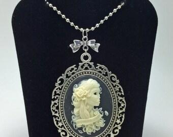 Skeleton Necklace, Steampunk Necklace, Goth Necklace, Cameo Necklace, Rockabilly Necklace