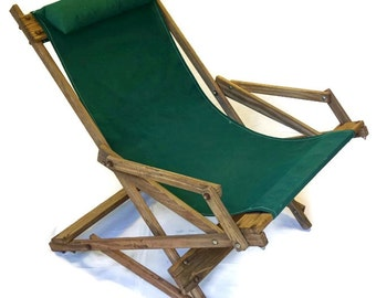Wooden Rocking Deck Chair Vintage Wood Sling Beach Folding Lawn Chair