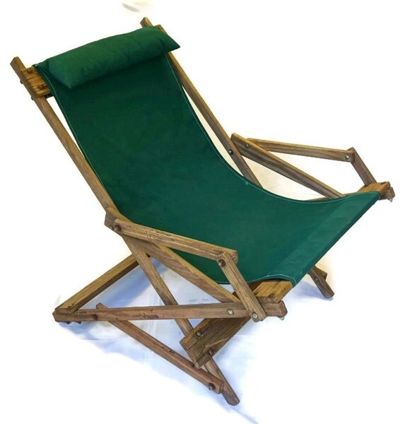 Items similar to Wooden Rocking Deck Chair Vintage Wood Sling Beach Folding L