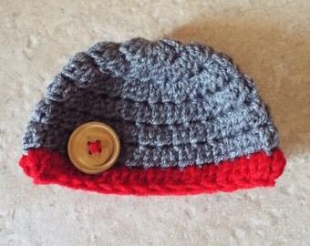 Crochet Newborn Hat, Knit newborn hat, Newborn Beanie, Infant Beanie, Infant Hat, Photo prop, gray, red, button