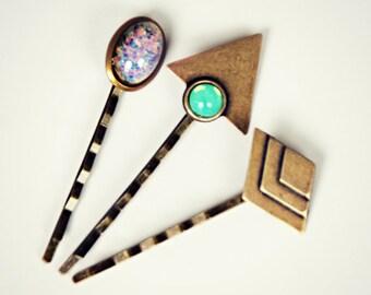 geometric opal bobby pin set, triangle bobby pin, pink opal bobby pin, green opal bobby pin, geometric hairpins, opal hairpin