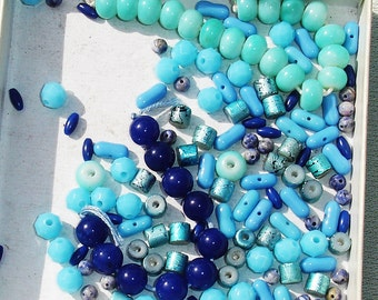 Blue Gemstone, Glass, Acrylic Bead Lot - 50+ -  Jewelry Making Supplies