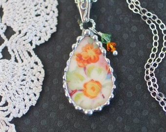 Necklace, Broken China Jewelry, Broken China Necklace, Yellow and Orange, Sterling Silver, Soldered Jewelry