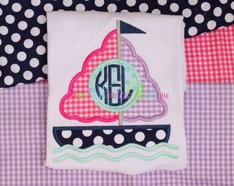 Girls Sailboat Shirt  - Monogram Sailboat Shirt - Girls Boat Shirt - Girls Sailboat - Monogram Sailboat - Sailboat Shirt - Beach Shirt