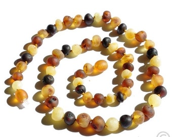 15% OFF THRU OCT Raw Unpolished Baltic Amber Necklace Rounded Multicolor Beads. For Adults