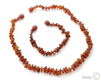 Raw Unpolished Cognac Baltic Amber Baby Teething Necklace and Bracelet/Anklet