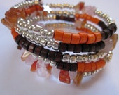 Boho Stone and Wood Memory Wire Bracelet