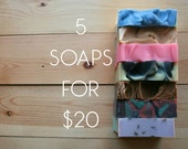 Five Artisan Soaps - Your Choice of Five Vegan Soaps - 5 Soaps Set -  Bulk Discount