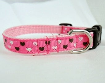Pink Cat Collar, Pink Puppy Collar with hearts- Size Medium or Small,  Adjustable, argyle