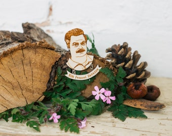 Ron Swanson Parks and Recreation Brooch, Laser Cut Wooden Jewellery