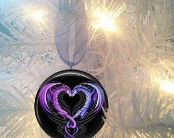 Dragon #2 Purple Heart Love Christmas Tree Ornament