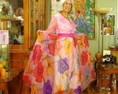 Georgia O'Keeffe Rainbow Poppies & Pink Polka Dot Vintage 70's Chiffon Hostess Gown .  Flower Power Boho Dress . Hot Cha Cha Circle Skirt .