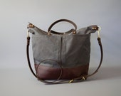 Grey Waxed Canvas and Brown Leather Diaper Bag / work travel tote  -  LEWIS - Waterproof Waxed CANVAS top and LEATHER base carry all