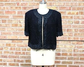 Vintage 80s Beaded Jacket - Black Sparkly Jacket, Elegant Party Jacket - M/L